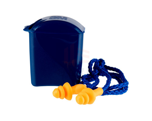 Вкладыши противошумные 3М™ многоразовые со шнурком в пластиковом контейнере, 1 пара/уп.