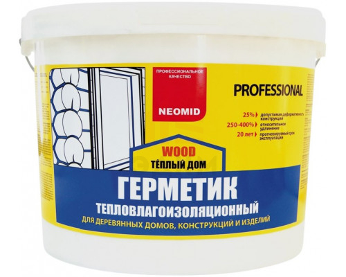 "Герметик акриловый серый, 15 кг. ""ТЁПЛЫЙ ДОМ Mineral Proffesional"" /Neomid/"